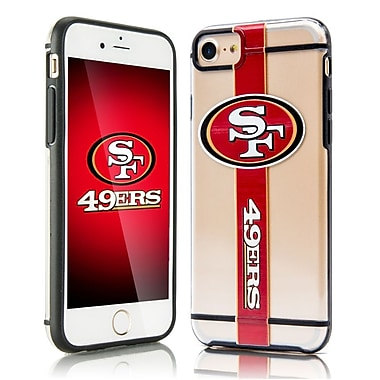 Insten Hydroclear SMU 3D Print San Francisco 49ers Dual Layer Hybrid PC/TPU Rubber Case Cover for Apple iPhone 7 - Red