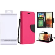 Insten Folio Leather Fabric Cover Case Lanyard w/stand/card holder/Photo Display For LG G6 - Hot Pink