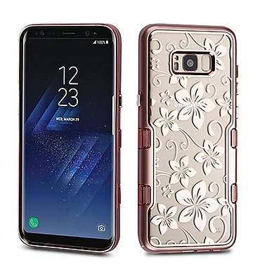 Insten Hibiscus Flower Metallic TUFF Panoview Hybrid PC/TPU Dual Layer Case For Samsung Galaxy S8 - Rose Gold/Clear