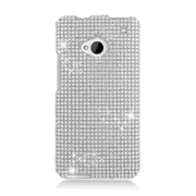 Insten Rhinestone Diamond Bling Hard Snap-in Case Cover For HTC One M7 - Silver