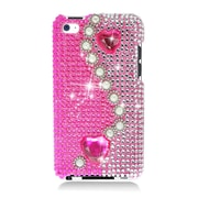 Insten Pearl Rhinestone Diamond Bling Hard Snap-in Case Cover For Apple iPod Touch 4th Gen - Hot Pink