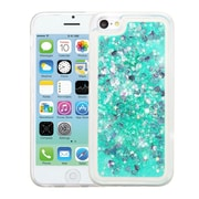 Insten Hearts Quicksand Glitter Hybrid PC/TPU Dual Layer Case For Apple iPhone 5C - Green