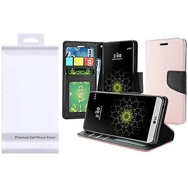 Insten Flip Leather Fabric Case w/stand/card slot/Photo Display For LG Harmony/K10 (2017)/K20 Plus/K20 V - Rose Gold