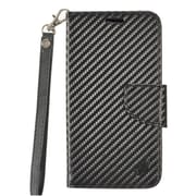 Insten Carbon Fiber PU Leather Wallet Flip Credit Card Stand Cover Case For Samsung Galaxy J3 (2017) - Black