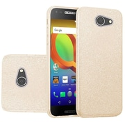 Insten Hybrid Glitter PC/TPU Transparent Case Cover For Alcatel A30 - Gold