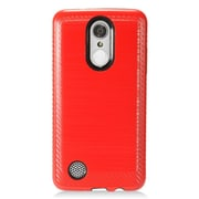 Insten Brushed Metal Hybrid Hard PC/TPU Dual Layer Cover Case For LG Aristo / K8 (2017) / LV3 - Red