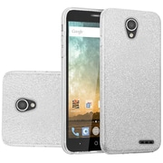 Insten Hybrid Clear PC/TPU Case Cover with Glitter Paper For ZTE Prestige 2 N9136 - Silver