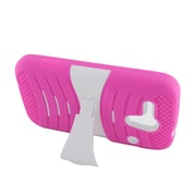 Insten Wave Symbiosis Stand Hybrid Silicone/Hard PC Case Cover For Kyocera Hydro Edge C5215 - Hot Pink/White