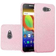 Insten Hybrid Glitter PC/TPU Transparent Case Cover For Alcatel A30 - Light Pink