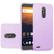 Insten Hybrid Glitter PC/TPU Transparent Case Cover For ZTE Max XL N9560 - Purple