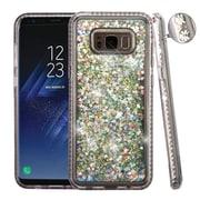Insten Diamante Frame Quicksand (Hearts) Glitter Hybrid Hard Case For Samsung Galaxy S8 - Silver