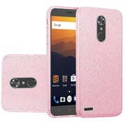 Insten Hybrid Glitter PC/TPU Transparent Case Cover For ZTE Max XL N9560 - Light Pink