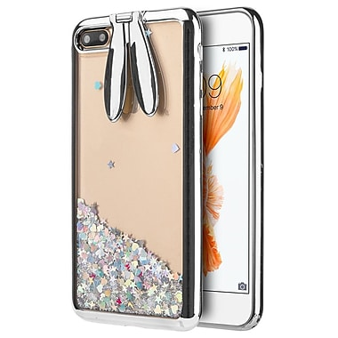Insten Sparkling QuickSand Bunny PC/TPU Rubber Transparent Hybrid Case Cover for Apple iPhone 7 Plus - Silver