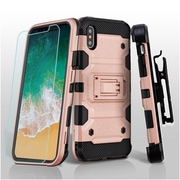 Insten Storm Tank Dual Layer Hybrid Stand PC/TPU Rubber Holster Case Cover for Apple iPhone X - Rose Gold/Black