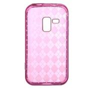 Insten Rhombus Crystal Transparent TPU Rubber Candy Skin Case For Samsung Galaxy Attain 4G - Hot Pink