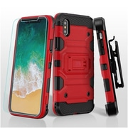 Insten Storm Tank Dual Layer Hybrid Stand PC/TPU Rubber Holster Case Cover for Apple iPhone X - Red/Black