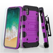 Insten Storm Tank Dual Layer Hybrid Stand PC/TPU Rubber Holster Case Cover for Apple iPhone X - Purple/Black