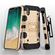 Insten Storm Tank Dual Layer Hybrid Stand PC/TPU Rubber Holster Case Cover for Apple iPhone X - Gold/Black