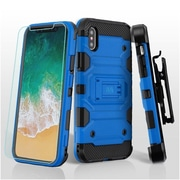 Insten Storm Tank Dual Layer Hybrid Stand PC/TPU Rubber Holster Case Cover for Apple iPhone X - Blue/Black