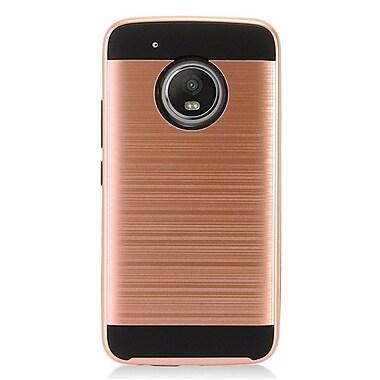 Insten Chrome Hybrid Brushed Hard Case For Motorola Moto G5 Plus - Rose Gold/Black