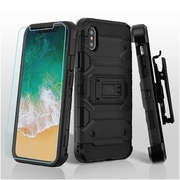 Insten Storm Tank Dual Layer Hybrid Stand PC/TPU Rubber Holster Case Cover for Apple iPhone X - Black