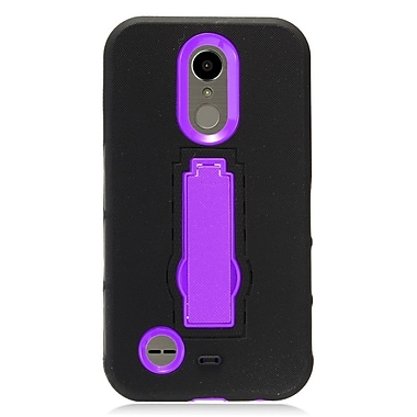 Insten Symbiosis Armor Hybrid Dual Layer Stand Silicone/PC Case For LG K10 (2017) / K20 Plus - Black/Purple