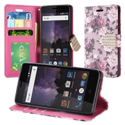 Insten Floral PU Leather Bling Credit Card Wallet Stand Flip Case For ZTE Tempo - Pink