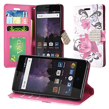 Insten Lily PU Leather Bling Credit Card Wallet Stand Flip Case For ZTE Tempo - White/Pink