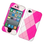 Insten Argyle Hard Snap-in Protective Back Case Cover For Apple iPhone 4 / 4S - Pink/White