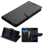 Insten Liner MyJacket Leather Wallet Card Flip Stand Case For Nokia 5 - Black
