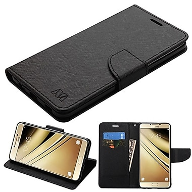 Insten Liner MyJacket Leather Wallet Card Flip Stand Case For Samsung Galaxy C7 Pro - Black