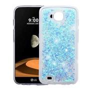 Insten Hearts Quicksand Glitter Hybrid PC/TPU Dual Layer Case For LG V9 / X Venture - Blue