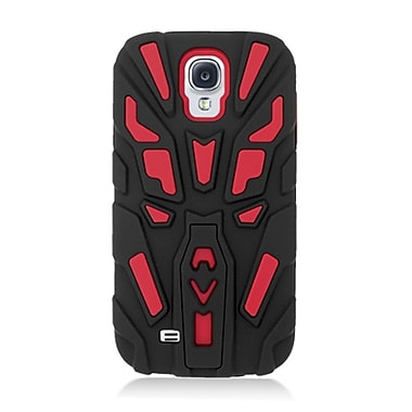Insten Dual Layer Hybrid Stand Rubber Silicone Skin Gel Case Cover For Samsung Galaxy S4 - Black/Red