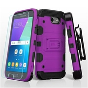 Insten Storm Tank Case Cover For Samsung Galaxy Amp Prime 2/Express Prime 2/J3 (2017)/J3 Emerge w/Holster - Purple/Black