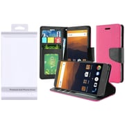 Insten PU Leather Bling Flip Credit Card Wallet Stand Pouch Case For ZTE Max XL N9560 - Hot Pink