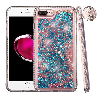 Insten Diamante Frame Quicksand (Hearts) Glitter Hybrid Hard Case For Apple iPhone 7 Plus - Blue