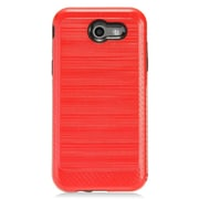 Insten Brushed Metal Hybrid Hard PC/TPU Dual Layer Cover Case For Samsung Galaxy J3 (2017) - Red