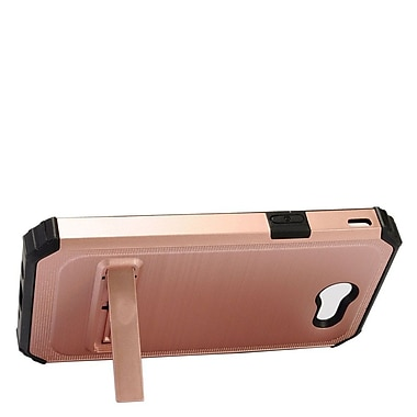 Insten Brushed Metal Hybrid Hard PC/Silicone Stand Dual Layer Case For Samsung Galaxy J3 (2017) - Rose Gold/Black