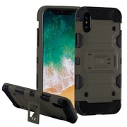 Insten Storm Tank Dual Layer Hybrid Stand PC/TPU Rubber Case Cover for Apple iPhone X - Gray/Black