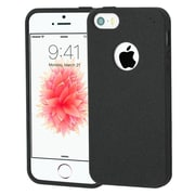 Insten Frosted SPOTS TPU Rubber Candy Skin Gel Back Case Cover For Apple iPhone SE / 5 / 5S - Black