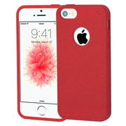 Insten Frosted SPOTS TPU Rubber Candy Skin Gel Back Case Cover For Apple iPhone SE / 5 / 5S - Red
