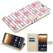 Insten Fresh Roses Diamante MyJacket Wallet Flip Leather Stand Credit Card Case Cover For ZTE Max XL N9560 - Pink