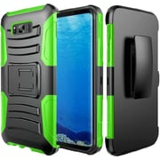 Insten Hybrid Dual Layer PC/Silicone Side Kickstand Holster Case Cover For Samsung Galaxy S8 - Black/Neon Green