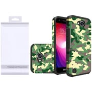 Insten Camouflage Dual Layer Hybrid PC/TPU Rubber Case Cover for LG Fiesta LTE/X Charge/X Power 2 - Green