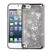 Insten Electroplating Quicksand Glitter Hybrid Hard Case Cover For Apple iPod Touch 5th Gen / 6th Gen - Silver Rose
