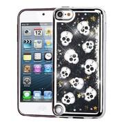 Insten Electroplating Cute Skulls Quicksand Glitter Hybrid Hard Case For Apple iPod Touch 5th Gen/6th Gen - Black/Silver