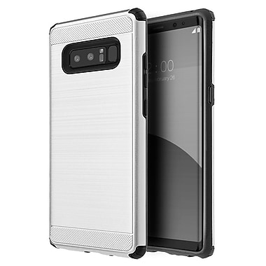 Insten Silkee Armor Dual Layer Hybrid Brushed PC/TPU Rubber Case Cover for Samsung Galaxy Note 8 - Silver/Black