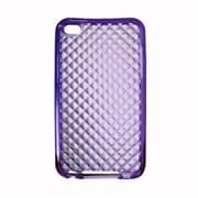 Insten TPU Rubber Hexagonal Transparent Skin Gel Case Cover For Apple iPod Touch 4th Gen - Purple