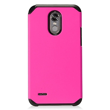 Insten Rubberized Dual Layer Hybrid Hard PC/TPU Case Cover For LG Stylo 3 - Hot Pink