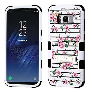 Insten Fresh Roses TUFF Hybrid Dual Layer PC/Silicone Shock Absorbing Case Cover For Samsung Galaxy S8 - White/Pink